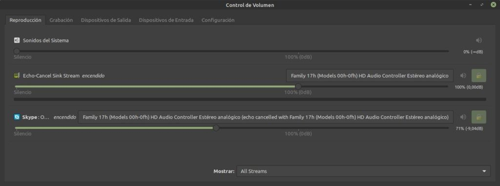 seleccionar interfaz de audio en linux